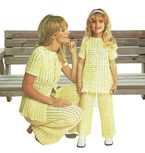 Digital vintage crochet pattern PDF womens and girls suits: pants/trouser/jacket/top 34-38, 24-28